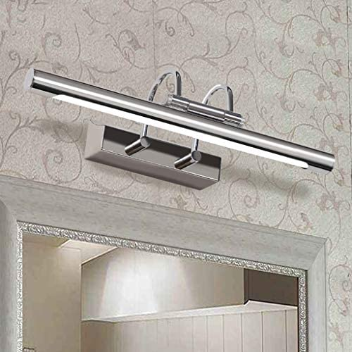 SOARLL -luz de Armario Espejo retrovisor Luz Delantera Cuarto de baño Baño Lámpara de Pared de Acero Inoxidable Espejo Gabinete Luz [A ++]