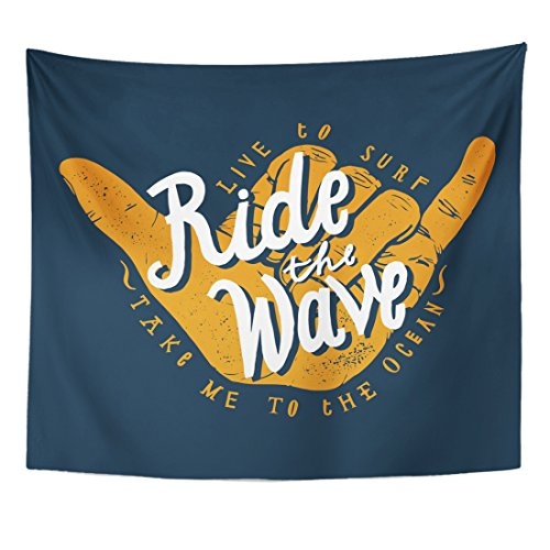 (TOMPOP Tapestry Surf Ride The Wave Surfing Shaka Hand Sign Hang Home Decor Wall Hanging for Living Room Bedroom Dorm 50x60)