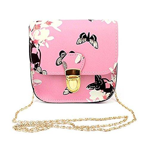 - Womens Shoulder Bags Women Butterfly Flower Printing Handbag Shoulder Tote Messenger Bag (Pink)