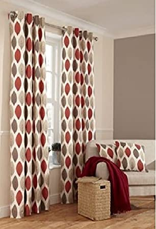 Home of Style Shoula Leaf Red Lined Eyelet Curtains 90