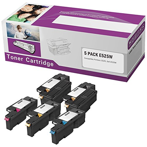 Limeink 5 Pack Compatible High Yield Laser Toner Cartridges Replacement for E525W 525W E525 525 H3M8P DPV4T (2 Black, 1 Cyan, 1 Magenta, 1 Yellow) Compatible with E525W, E525DW Color Laser Printer Ink