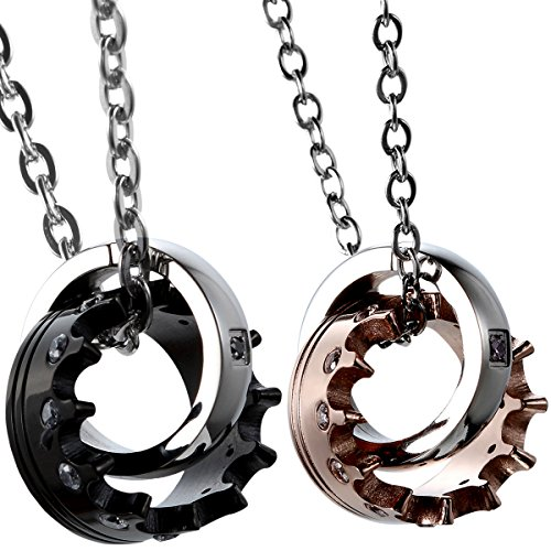 Unisex Necklace (2pcs Stainless Steel Cubic Zirconia His Queen Her King Crown Pendant Necklace,Rosegold,Black for Christmas Valentines Gifts)