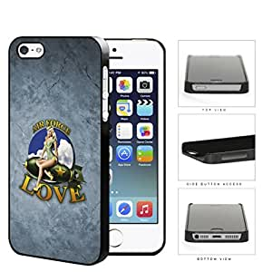 Air Force Love with Retro Pin up Girl on Plane and Grunge Background iPhone 5 5s Hard Snap on Plastic Cell Phone Case Cover