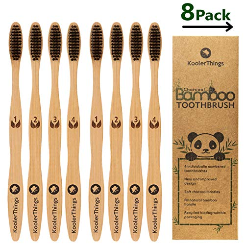 Biodegradable Natural Charcoal Bamboo 8 Toothbrushes (Two Packs of 4 | BPA Free Soft Bristles | Biodegradable, Compostable, Eco Friendly, Natural, Organic, Vegan, - Just Bamboo