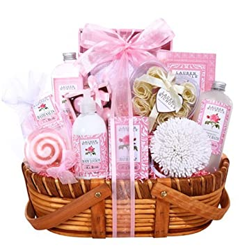 Pretty In Pink Luxurious Valentines Day Spa Gift Basket For Her