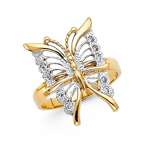 Womens Two Tone 14K Solid Gold Cubic Zirconia Butterfly Fancy Ring, Size 6 (14k Two Tone Ladies Ring)