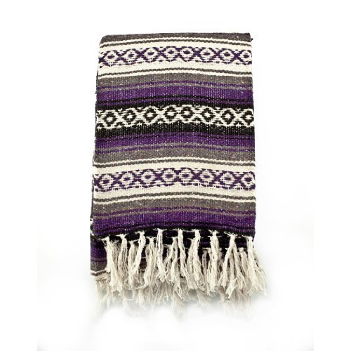 Mexican Blanket Serape colors purple, grey & black by Sanyork Fair Trade