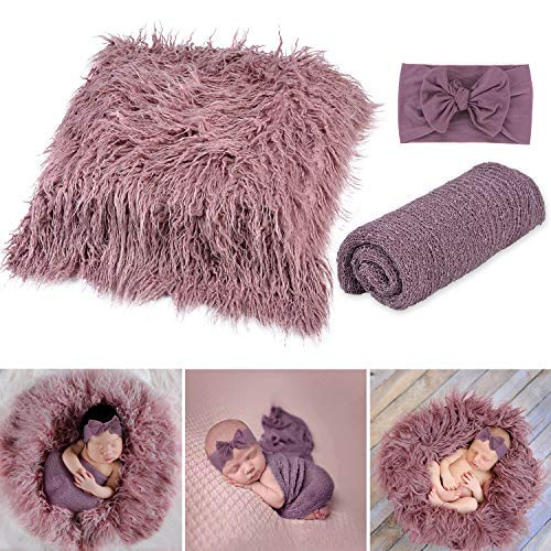 Newborn Photography Props Girl, Fascigirl 3PCS Toddler Photo Blankets Wrap and Headband Long Hair Photography Wrap Shaggy Area Rug Photo Prop Multi-Purpose Swaddle Wrap Photography Mat (Purple)]()