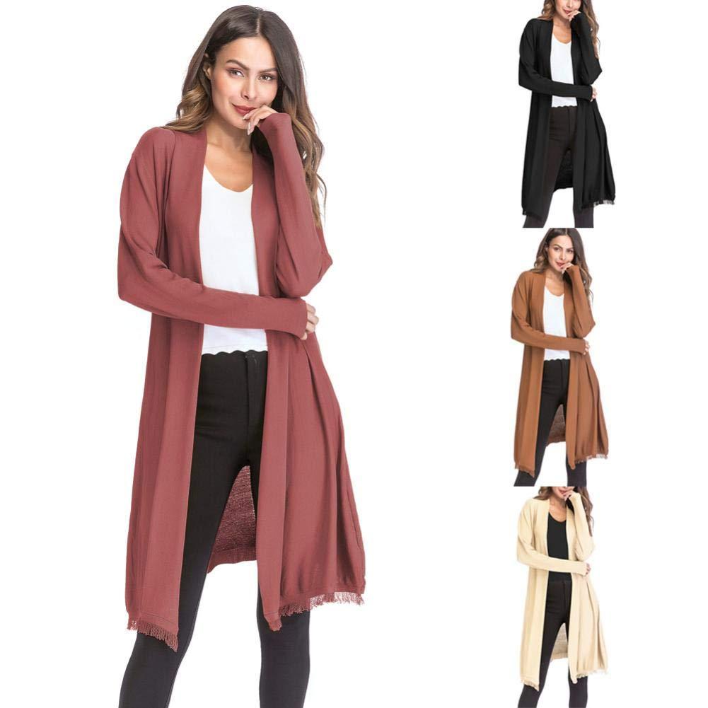 Pandaie Womens Jacket,Women's Loose Gradient Solid Knit Tassel Cardigan Retro Long Sleeve Coat