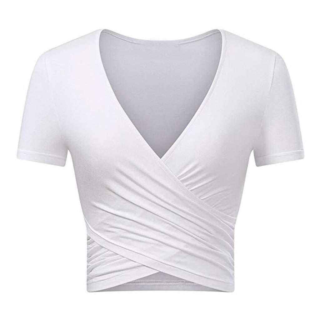 BB67 Women Deep V Neck Short Sleeve Unique Slim Fit Coss Wrap Shirts Crop Tops White
