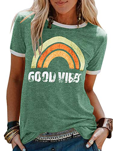 Umeko Womens Good Vibes Graphic Tees Letter Printed Casual Loose Summer T-Shirt (Large, 2-Green)