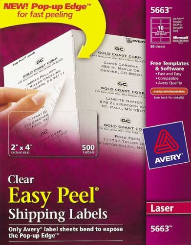 amazon com avery 5663 10 up clear shipping labels pack of 500