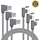 Micro USB Cable, CTREEY 90 Degree 3 Pack 6FT Long Premium Nylon Braided Android Fast Charger USB to Micro USB Charging Cable for Samsung Galaxy S7 Edge/S6/S5, Note 5/4/3 (3 Pack 6FT Grey)