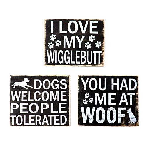 JennyGems - Wood Rustic Dog Wigglebutts Refrigerator Magnet - Set of 3 - I Love My Wigglebutt, You Had Me at Woof, Dogs Welcome People Tolerated, Shabby Chic