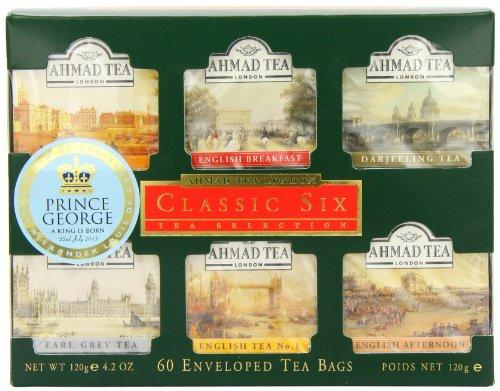 Ahmad Tea Classic Six Selection Envelope Teabag Gift Pack Black Tea, Sampler, 60 - English 10 Breakfast Foil