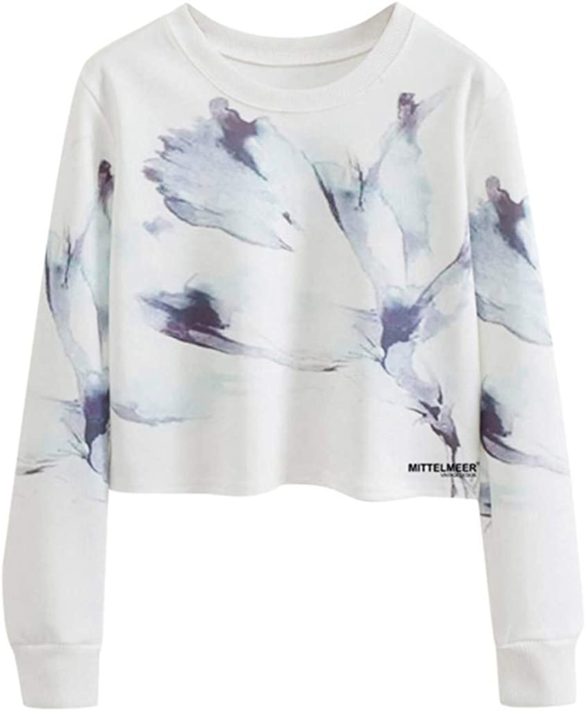 Long Sleeve 0-Neck Pullover Watermark Printed Sweatshirt Casual Crop Blouses F/_topbu Short Fashion Hoodie for Women