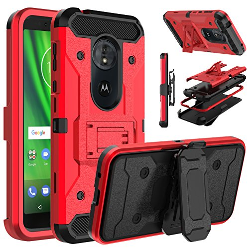 Venoro Moto G6 Play Case, Moto E5 Case, Heavy Duty Armor Shockproof Protection Case Cover with Belt Swivel Clip and Kickstand Compatible with Motorola Moto G6 Play/Moto G6 Forge/Moto E5 (Red)