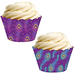 Andaz Press Party Cupcake Wrapper Decorations, Violet Purple and Blue Peacock Feathers, 24-Pack, Theme Colored Bulk Cake Supplies