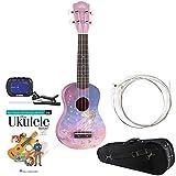 Luna Aurora Faerie Soprano Ukulele w/ Knox Padded Case, Yamaha GCT1 Clip-On Chromatic Tuner, Martin Strings & Hal Leonard DVD