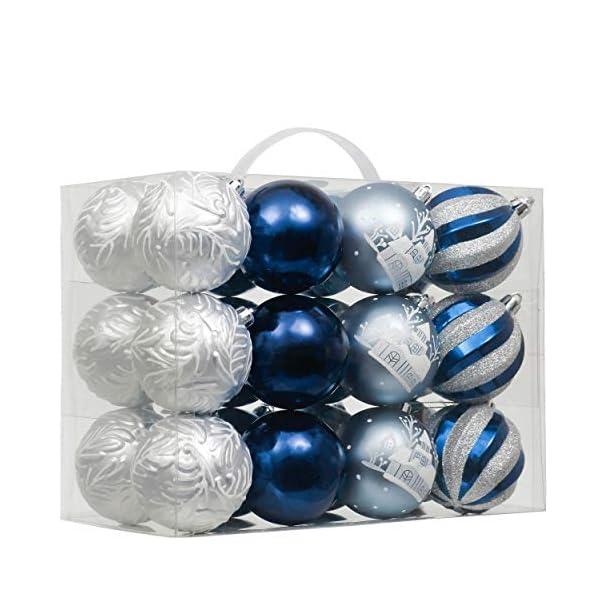 Valery Madelyn Palle di Natale 24 Pezzi 7cm Palline di Natale, Auguri Invernali Argento e Blu Infrangibili Ornamenti Palla di Natale Decorazione per la Decorazione Dell'Albero di Natale 1 spesavip