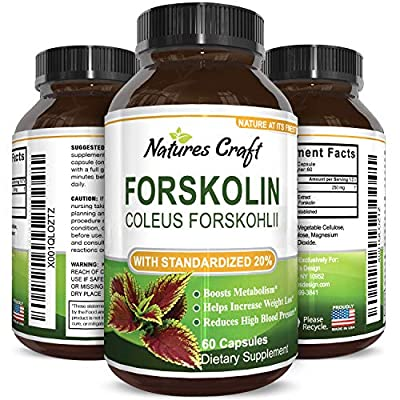 Natures Craft Pure Forskolin Extract- Weight Loss -250 mg capsules -Appetite Suppressant-Get Thin Lose Weight -Best Natural Diet Supplement - Fat Burner Pills - Premium Coleus Forskohlii Root