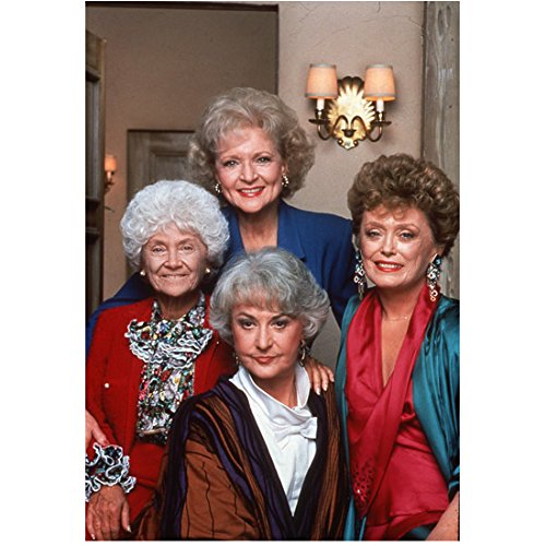 The Golden Girls (TV Series 1985 - 1992) 8 Inch x 10 Inch Photo from Slide Estelle Getty, Bea Arthur, Rue McClanahan & Betty White Pose 2 kn