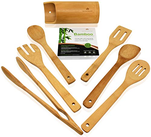 Wooden Kitchen Utensils Set - 7 Piece Bamboo Cooking Tools and Holder - Cooking Spoons and Spatulas, Kitchen Tools - Wood Tool Utensil Sets for Nonstick Pan and Cookware