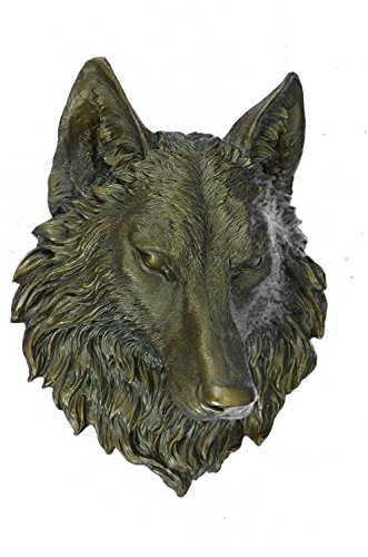 EUROPEAN BRONZE Large Hot Cast Wolf Head Bronze Sculpture Wall Mount Figurine NR