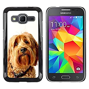 TopCaseStore / la caja del caucho duro de la cubierta de protección de la piel - Labradoodle Terrier Yellow Fur Dog - Samsung Galaxy Core Prime SM-G360