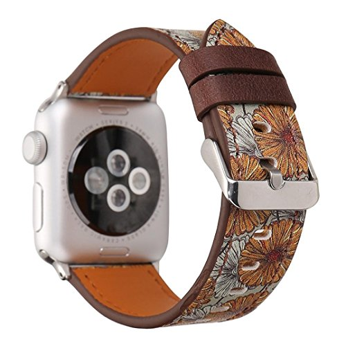 Price comparison product image Vintage Floral Band for Apple Watch 38mm, PrettyW Replacement Leather Band Large Small Strap Bracelet for Apple Watch Band 38mm Series 2 Series 1 (F)