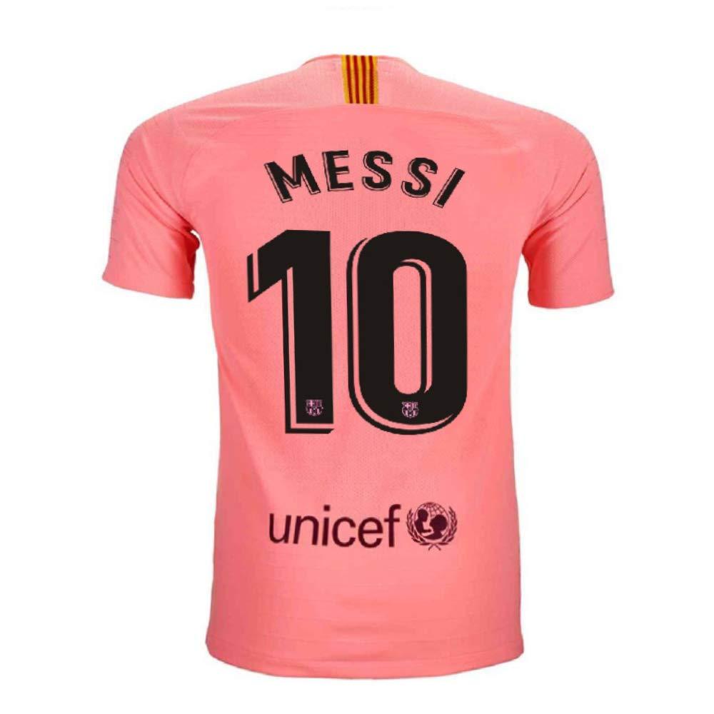 f37c143cd09 Noumhtz Mens FC Barcelona  10 Messi 2018 19 Away Adult Soccer Jersey Sizes  Pink (Pink