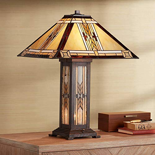 - Drake Tiffany Style Table Lamp with Nightlight Mission Bronze Stained Glass for Living Room Family Bedroom Bedside - Franklin Iron Works