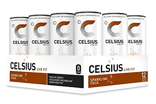 CELSIUS Sparkling Cola Fitness Drink, ZERO Sugar, 12oz. Slim Can, 12 Pack