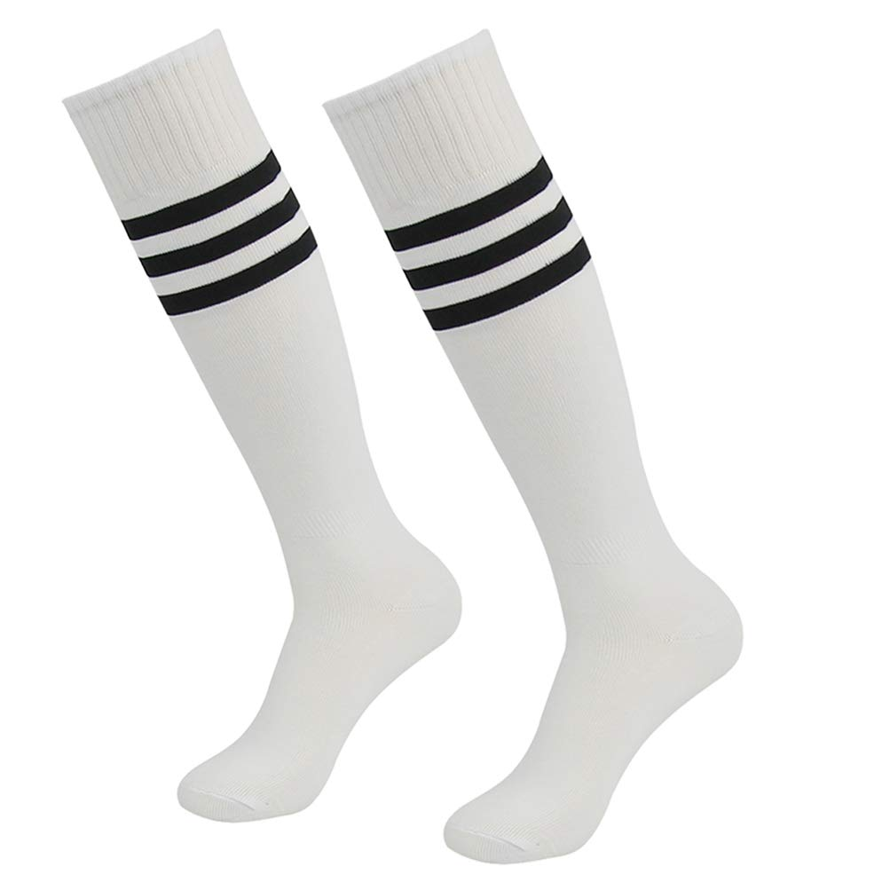 saillsen Outdoor Apparel Socks Unisex Knee High Over Calf Striped Tube Football Basketball Team Sports Socks 2 Pairs White Black Stripe One Size by saillsen