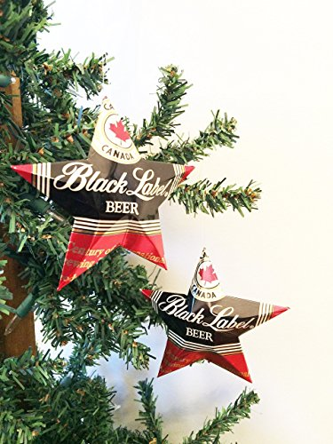 (Carling Black Label Beer Can Stars, Recycled Aluminum Beer Can Stars, Upcycled Can, Christmas Ornaments)