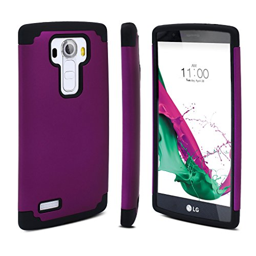 LG G4 Case, Jeylly(TM) LG G4 Bumper Case Plastic Shell and TPU Rubber Inner, Shock Absorbing Hard Hybrid Slim Thin Cute Case Cover for LG G4 AT&T T-mobile Sprint Verizon Unlocked - Purple&Black