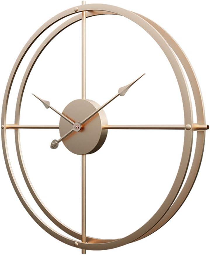 Jo332Bertram 40cm Reloj de Pared, Estilo Vintage Reloj de Pared de Hierro Reloj de Pared Silencioso para Hogar Decoración - Dorado