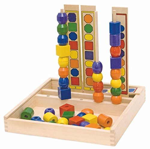 Woodyland 23 x 23 x 23 cm Didactic Toys Logic Bead Sequencing Set (55-Piece) by BabyMarket