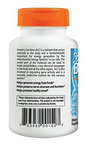 Doctor's Best Acetyl-L-Carnitine with Biosint Carnitines, Non-GMO, Vegan, Gluten Free, 500 mg 120 Veggie Caps by Doctor's Best (Image #3)