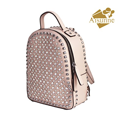 Leather Aisunne Girls Women For Fashion Backpacks Handbags Rhinestone Pink Ladies Backpack With Rivets Glitter Small Mini Shoulder 8rBq7