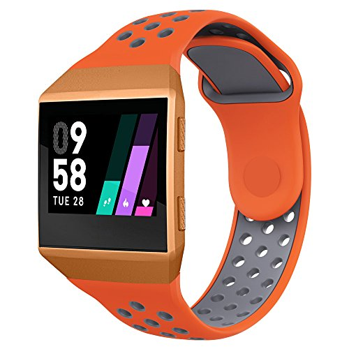 UMTELE Compatible for Fitbit Ionic Band, Two-Toned Perforated Strap Breathable Accessory Wristband with Quick Lock&Release Buckle Replacement for Fitbit Ionic Smart Watch, Small, Orange/Grey