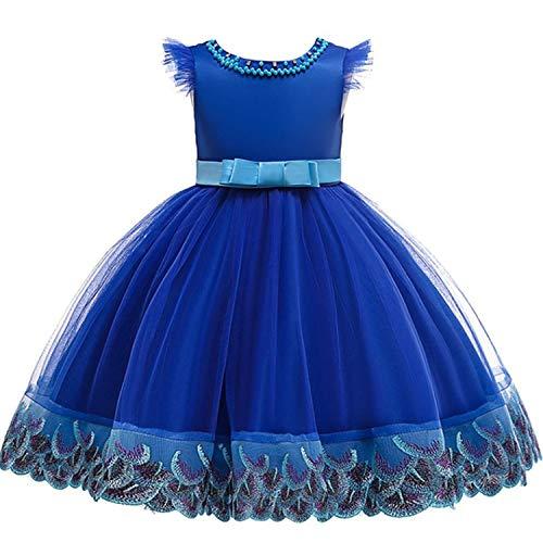 Baby Girls Dress Pageant Flower Children Costume Dresses Sleeveless Dresses,blue3,5 -