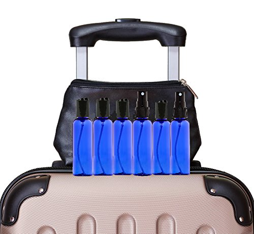Cobalt Blue 2 Ounce PET (Plastic) Bottles Refillable Set of 6 with 6 Black Mister Spray Caps Plus 6 Disc-Tops and 6 Chalkboard Stickers for Essential Oils (EO), Home and Beauty Products. by JT Bottles (Image #4)