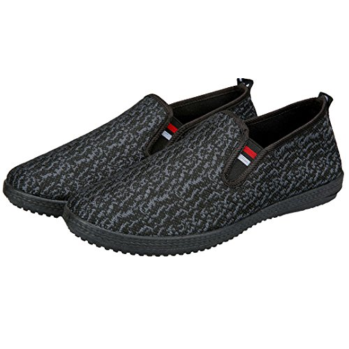 AiSi Chaussure Sport en Tissu Confort Respirante Chaussures Bateau Hommes pour Running Baskets Footballe Tennis pour Homme,Garçon Noir