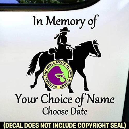 MEMORIAL Trail Rider ADD CUSTOM WORDS Vinyl Decal Sticker E