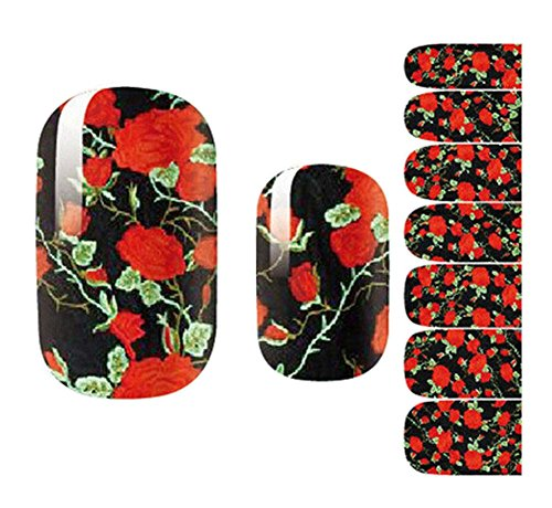 ([Black & Red] Set of 5 Elegant Nail Stickers Manicure Nail)
