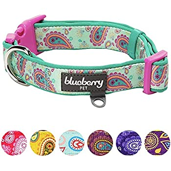 """Blueberry Pet 7 Patterns Soft & Comfy Paisley Flower Print Neoprene Padded Dog Collar, Emerald Green, Large, Neck 18""""-26"""", Adjustable Collars for Dogs"""