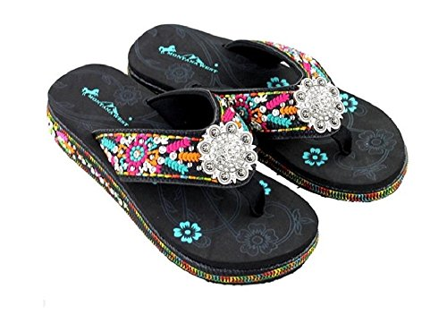 Aztec Sandal - Montana West Rhinestone Concho Aztec Hippy Flower Flip Flops Sandals 1.75