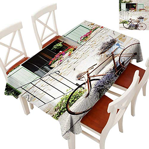 """WinfreyDecor Fabric Dust-Proof Table Cover Waterproof/Oil-Proof/Spill-Proof Tabletop Protector European French Mediterranean Rural Stone House with Bike Countryside Provence Day Photo Multi 60"""" × 84"""""""