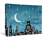 """JP London SCNV2131 2"""" Thick Heavyweight Gallery Wrap Canvas, Sinatra Mad Men Twilight Fly Me To The Moon Skyline At 16"""" Wide x 12"""" High"""